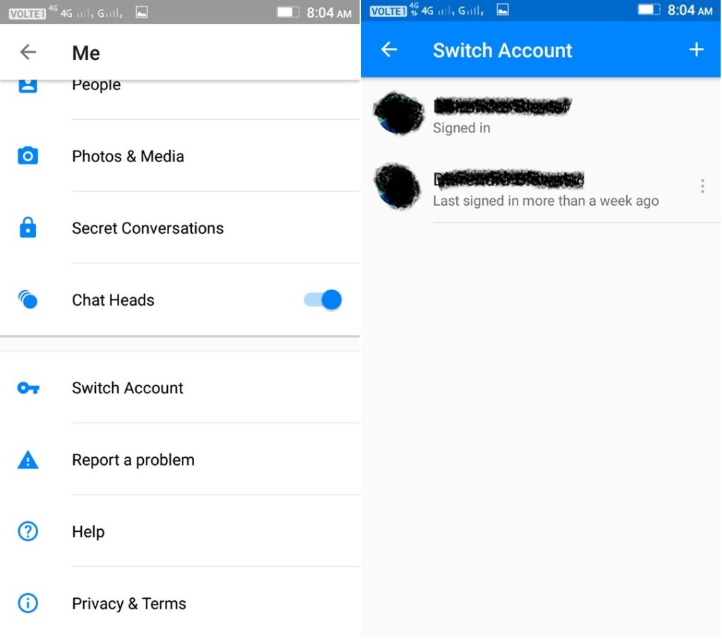 log out of facebook messenger android